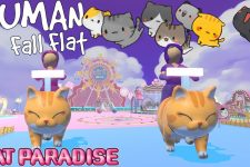 We went to Cat Paradise on Human Fall Flat and completed an obby!